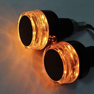 Handlebar LED Bar End Light Indicator with Dual Color for All Bikes (White & Orange)