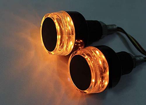 Handlebar LED Bar End Light Indicator with Dual Color for All Bikes (White & Orange)