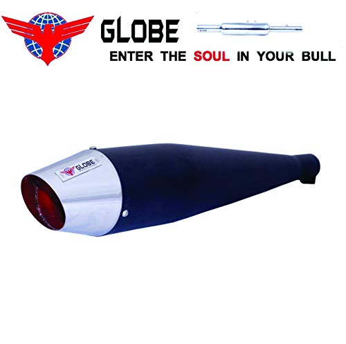 Globe-Auto-Parts-Dolphin-Chrome-Finish-Exhaust-for-Royal-Enfield-Classic-350500-Bs3Bs4-Black-0