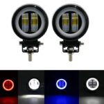 dug dug motorcycles 3 Inch 40W LED Fog Light with LED Round DRL Angel Eye for bikes (7)